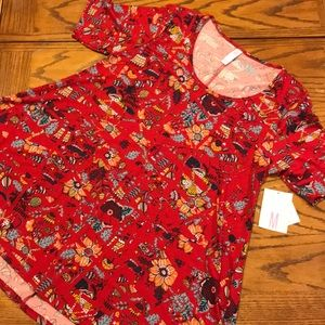 NWT LuLaRoe Perfect T medium Red mushrooms bugs